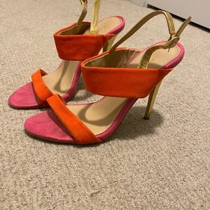 Express pink and orange strappy heels